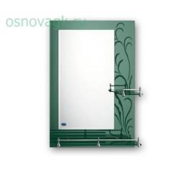 F686 зеркало. полка. зеленый рисунок. 700*500, шт
