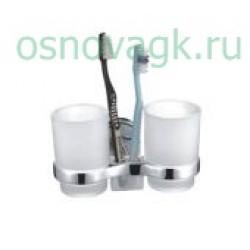 F1908 2-стаканов/стекло с держателем. для зубн/щеток, шт