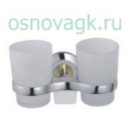F1808 2-стаканов/стекло с держателем. хром/золото, шт