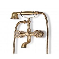 Душевая стойка Bronze de Luxe  для ванной двухручковый с коротким изливом 10см.  10119