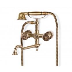 Душевая стойка Bronze de Luxe  для ванной двухручковый с длинным изливом 25см. 10119D