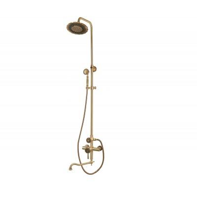 Душевая стойка Bronze de Luxe  для ванной и душа одноручковый длинный (25см) излив, лейка двойной цветок 10120DDF