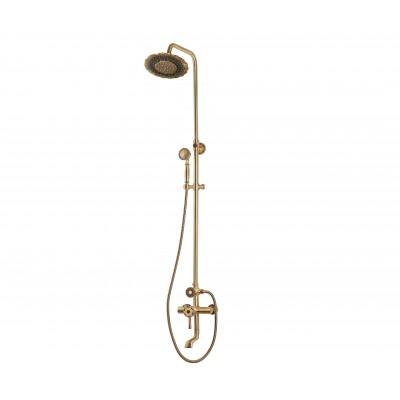 Душевая стойка Bronze de Luxe  для ванной и душа одноручковый короткий (10см) излив, лейка двойной цветок 10120DF