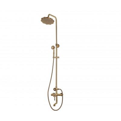 Душевая стойка Bronze de Luxe  для ванной и душа одноручковый короткий (10см) излив, лейка цветок 10120F
