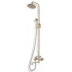 Душевая стойка Bronze de Luxe  для ванной и душа двухручковый короткий (10см) излив, лейка двойной цветок 10121DF