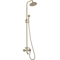 Душевая стойка Bronze de Luxe  для ванной и душа двухручковый короткий (10см) излив, лейка цветок 10121F