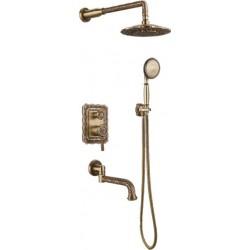 Душевая стойка Bronze de Luxe  для ванной и душа одноручковый встраиваемый, лейка двойной цветок 10137DF