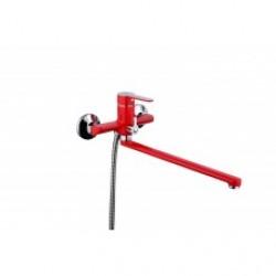 FRAP F2243 Смеситель красный/хром. д/ван. Ф35. излив 35F. переключение душ - корпус/дивестор/кранбукса