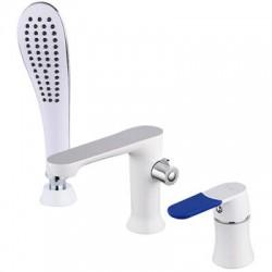 FRAP F1134 Смеситель для ванны на 3 отверстия белый/ хром на гайке