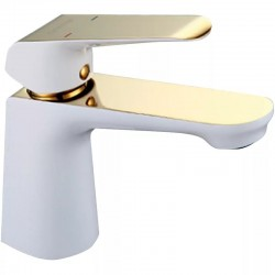 Смеситель для раковины с гайкой белый/золото GAPPO G1080